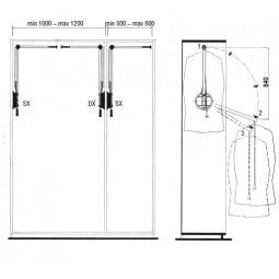пантограф мебельный Лифт 102 для одежды в шкаф левый цвет серый; Производитель: Ambos SRL ИТАЛИЯ