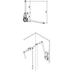 пантограф мебельный Лифт 700 для одежды в шкаф проем 75-115см вес до 15кг цвет серый; Производитель: Ambos SRL ИТАЛИЯ