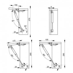 Газовый лифт 104A грузоподъемность 100N