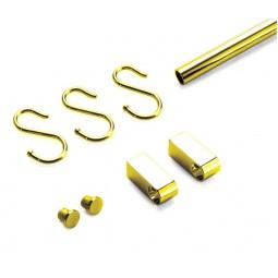 0130 Комплект Труба 600 + 2кронш+2загл.+2крючка цвет золото