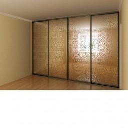 Двери купе наполнение Зеркало - Сатинато (серебро, золото, графит) выбор рисунка травления (калькулятор цены)