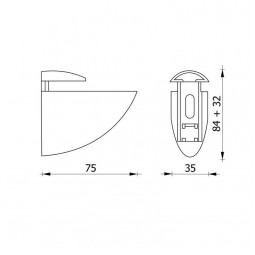 Полкодержатель декоративный 301 алюминий матовый хром